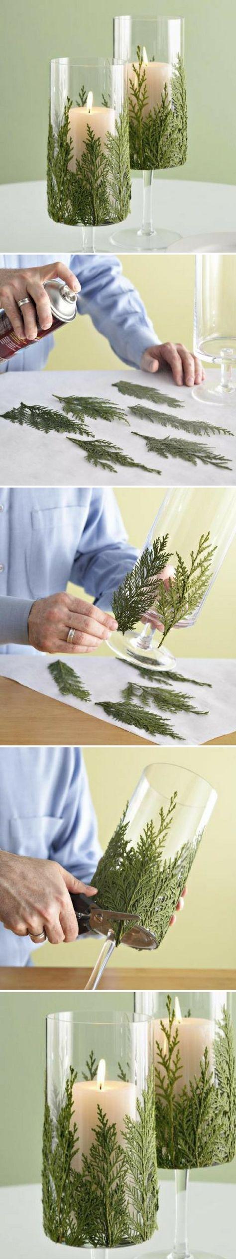 Fabriquer et personnaliser un porte-bougies pour Noël avec des branches de sapin