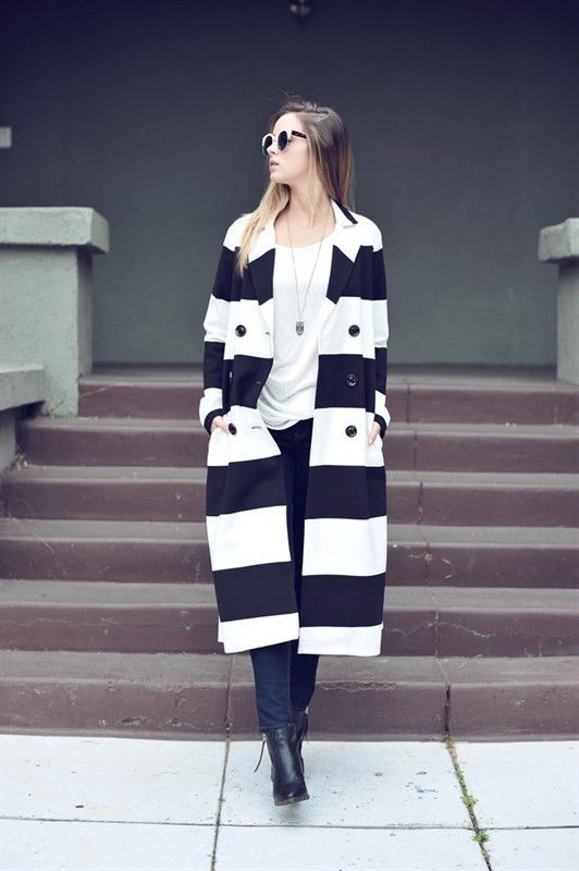 Striped Button Front Trench Coat w/Pockets!