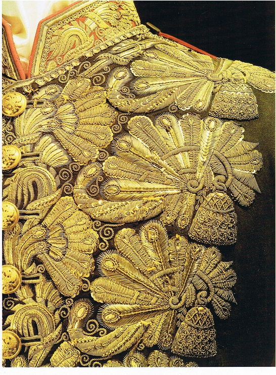 Fashion detail, close-up from a Russian (military?) costume, HERMITAGE. Beautiful antique goldwork embroidery.