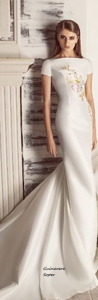 Hamda Al Fahim ~ Cap Sleeve White Satin Gown w Delicate Floral Embroidery 2015-16