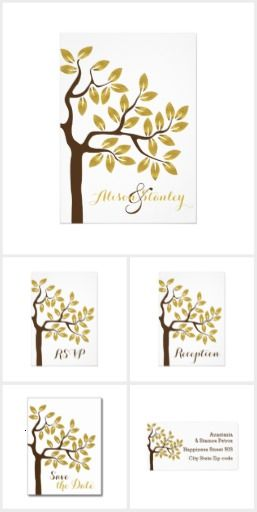 Elegant tree with faux gold foil leaves modern wedding invitations suite. It features a beautiful tree with golden leaves of faux gold foil with metallic shine and brown trunk is. This stylish invitations collection includes apart from wedding invites and RSVP reply cards lots of wedding paper products: Save the Dates, couple's and bridal shower invitations, programs, menu and escort place cards, stamps, stickers etc.