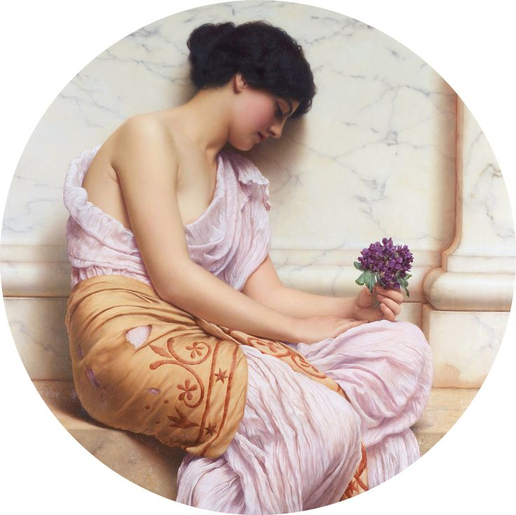 "John William Godward, ""Violets, sweet violets"", 1906, oil on canvas. In this piece, the shape of the canvas, the women's posture, and the direction of the women's eyes all create a sense of movement that draws the viewer to the bouquet of violets."