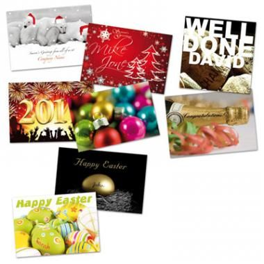 Seasonal Cards, Large selection of A5 cards including 'Company Name/Logo on the Front' (extra charge for 'name in the picture' personalisation). Gloss varnish on outside. Greeting printed black inside.