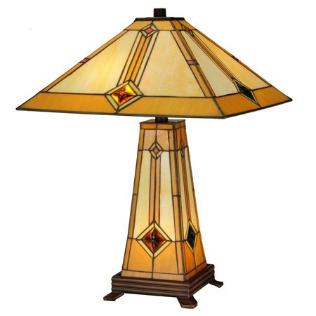 Craftsman lamp with lighted base made with golden amber and beige art glass with diamond shaped amber glass jewels.