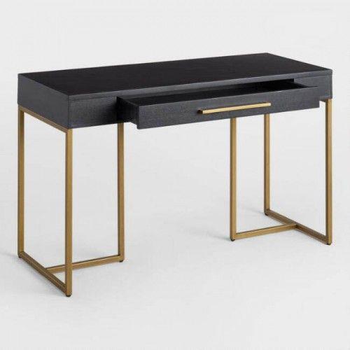Χειροποίητο γραφείο από ξύλο πεύκου σε γκρι απόχρωση με μεταλλικά χρυσά πόδια. Ένα μοντέρνο και πρακτικό έπιπλο με μοναδικό στιλ, που μπορεί να προσαρμοστεί στο σαλόνι την κρεβατοκάμαρα και το γραφείο σας.