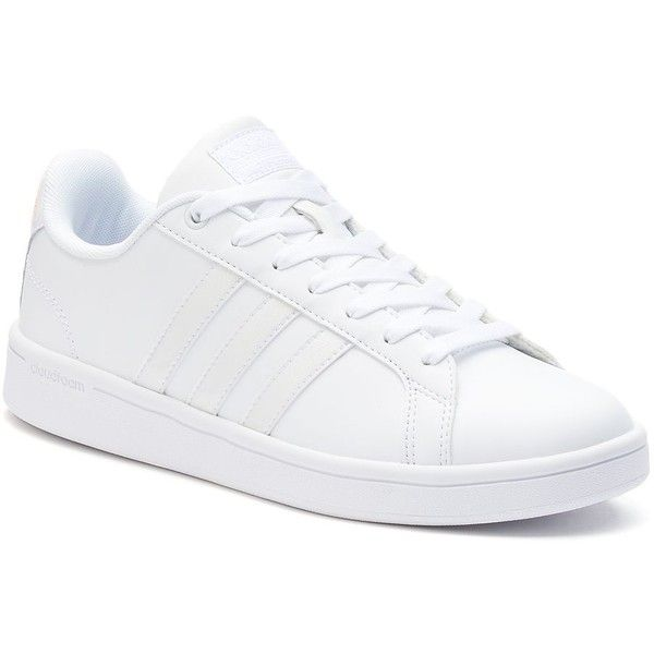 Adidas NEO Cloudfoam Advantage Stripe Women\u0027s Metallic Shoes ($65) ? liked  on Polyvore featuring