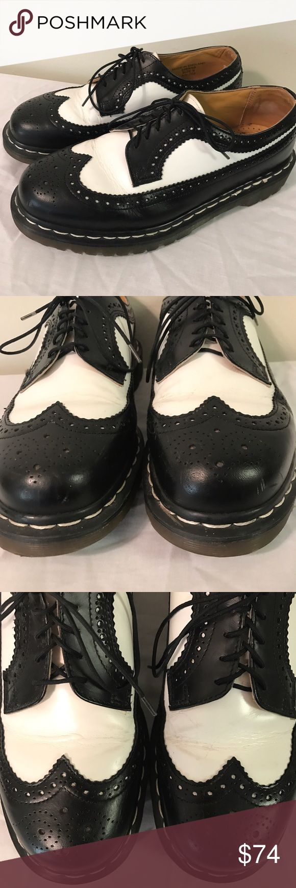Vtg DOC MARTENS WingTip Rockabilly Spectator Shoes UK size 9/ US size 10 Men's Made in England Cracking in white part of leather on top Bottoms are in perfect condition! Dr. Martens Shoes Oxfords & Derbys