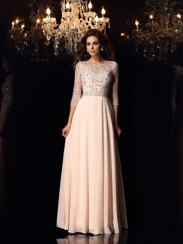 ba2ae5f8a6 A-Line Princess Scoop Beading 3 4 Sleeves Long Chiffon Dresses - Prom  Dresses - Hebeos Online