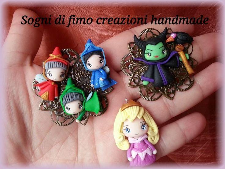 Figurines de los personajes de La Bella Durmiente en arcilla polimérica / polymer clay