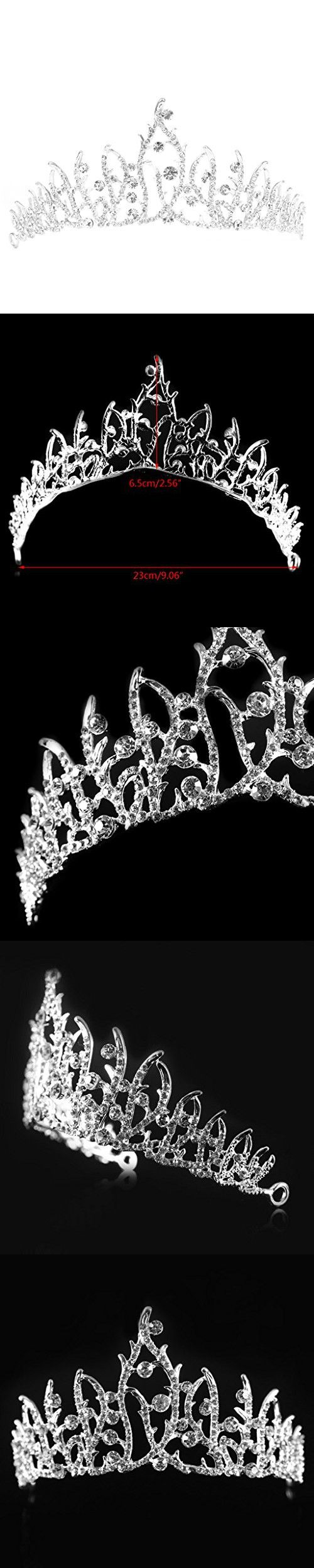 LAYs Wedding Bridal Crown Silver Rhinestone Hair Tiara Princess Austrian Headband