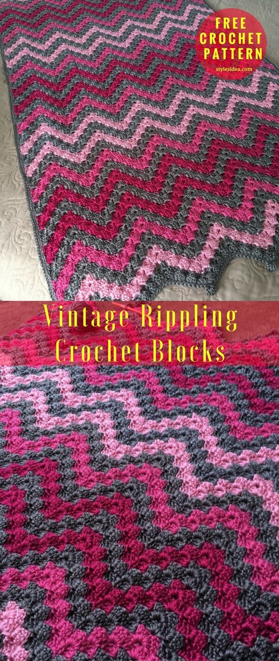 Vintage Rippling Crochet Blocks [Free Pattern]  Vintage with attractive block idea with red collage. After long searching in many places for this pattern Angela Maria wrote this pattern. Fabulous combination of the blocks with Vintage block stitch which you know very well. Don't worry about gauge. Works easily and very quick. #crochet #VintageRippling #CrochetBlocks