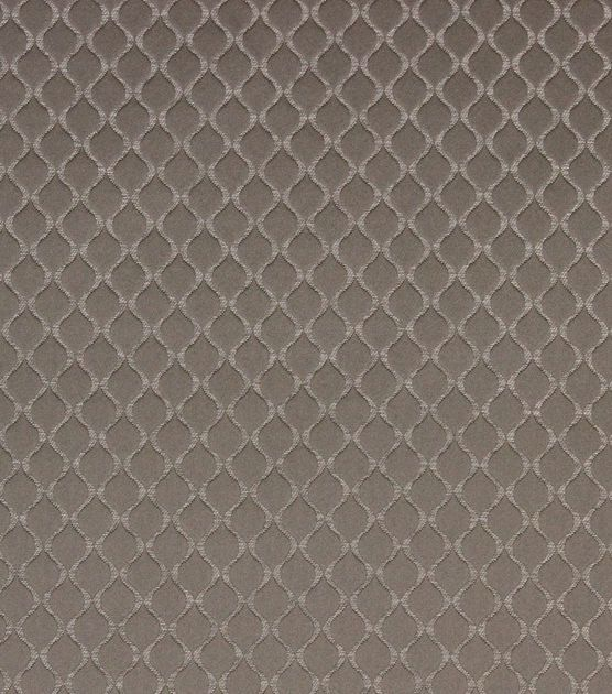 Classic damask with mordern lattice pattern in Taupe. Content: 68% Polyester, 32% Cotton Width: 55 Inches Fabric Type: Print Upholstery Grade: N/A Horizontal Repeat: N/A Vertical Repeat: 0.98 Inches F