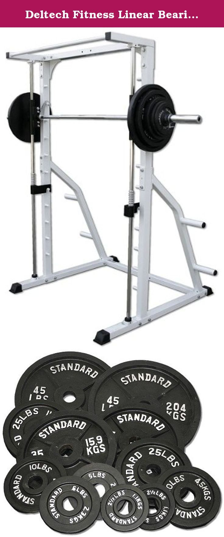 Deltech Fitness Linear Bearing Smith Machine with 245 lb. Olympic Weight Set. Includes DF4900 Linear Bearing Smith Machine by Deltech Fitness and 245 lb. Olympic Weight Set. Weight Set includes Two 2.5-lb plates, Two 5-lb plates, Two 10-lb plates, Two 25-lb plates, Two 35-lb plates, and Two 45-lb plates.
