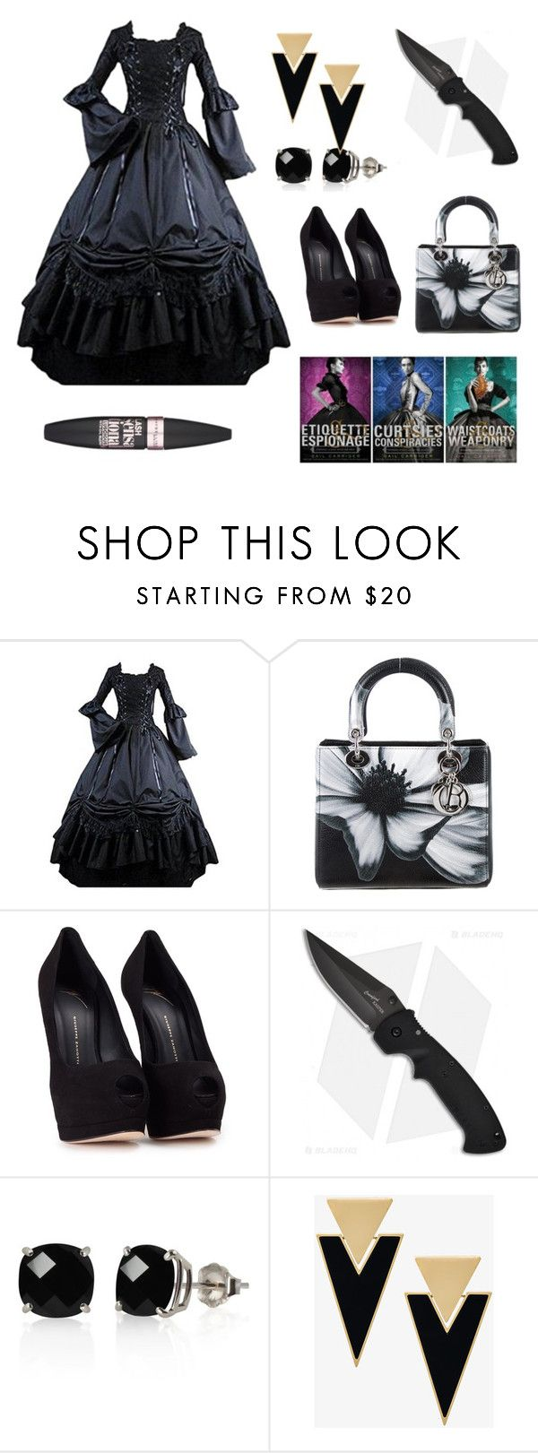 """Etiquette and Espionage"" by mayday004 ❤ liked on Polyvore featuring Christian Dior, Giuseppe Zanotti, Belk & Co., Yves Saint Laurent and Maybelline"