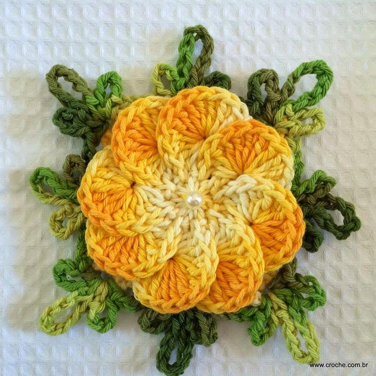 Flores Crochet, Galo Passo, Crista De, Quaver, De Galo, Flowers, Flor ...