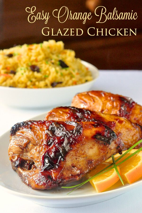 Easy Orange Balsamic Chicken - the marinade does double duty in this recipe; it's also used as the base for the sticky glaze that gets brushed on the roast chicken pieces.