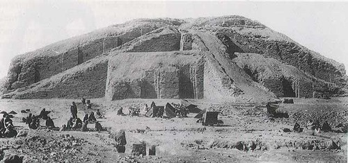 An early image of the Ziggurat of Ur from the 1920's.
