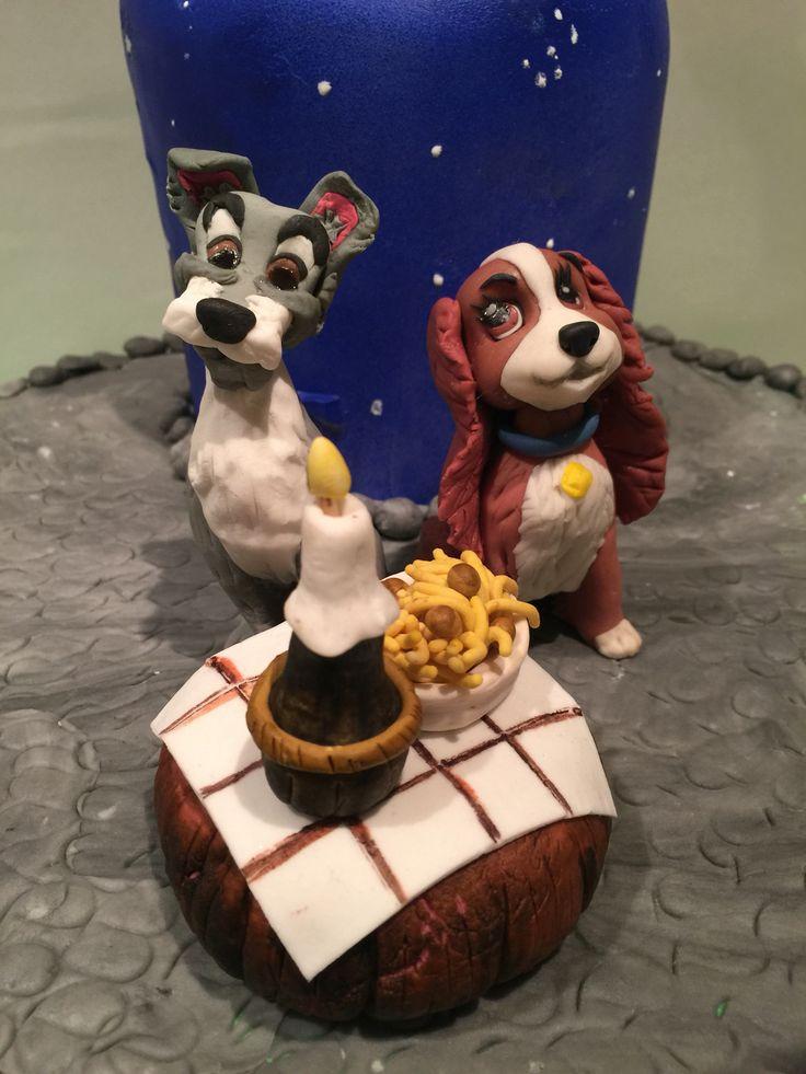 Disney-Ladyandthetramp #ladyandthetrampcake #caketopper #fondanttopper #ladyandthetramp #disney #handcrafted#homemade#fondant #cake
