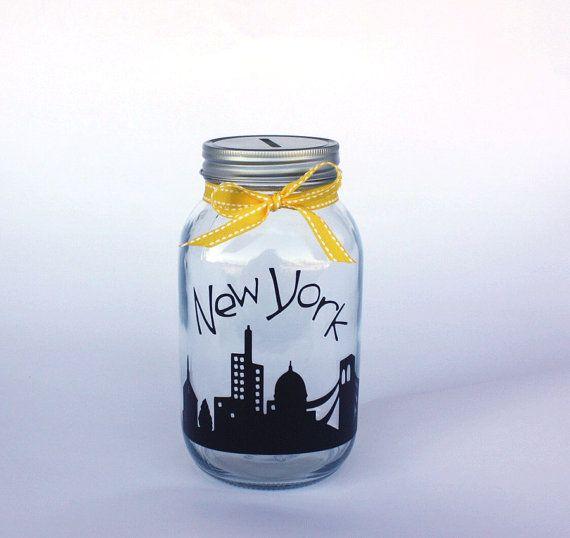 New York Quart grootte mason jar bank met munt sleuf deksel en