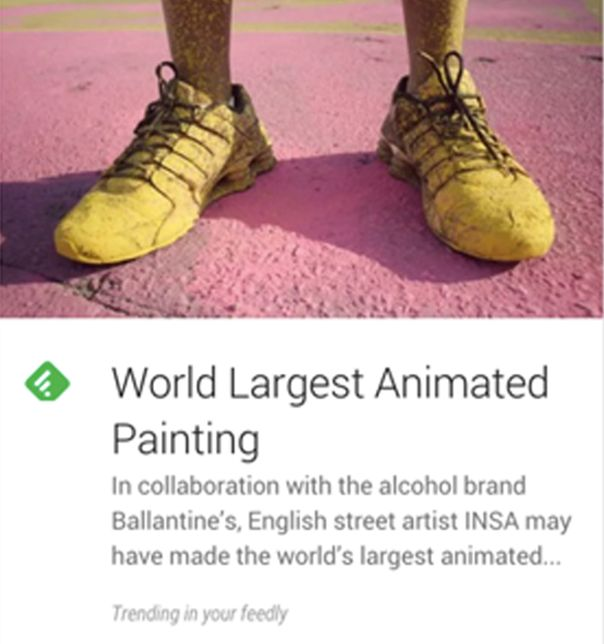 Google now Feedly article card