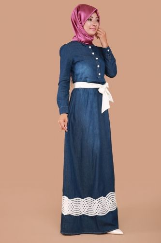C.M.N - Sezen Yarım Düğmeli Kot Elbise MSW9175 Koyu Kot (1)
