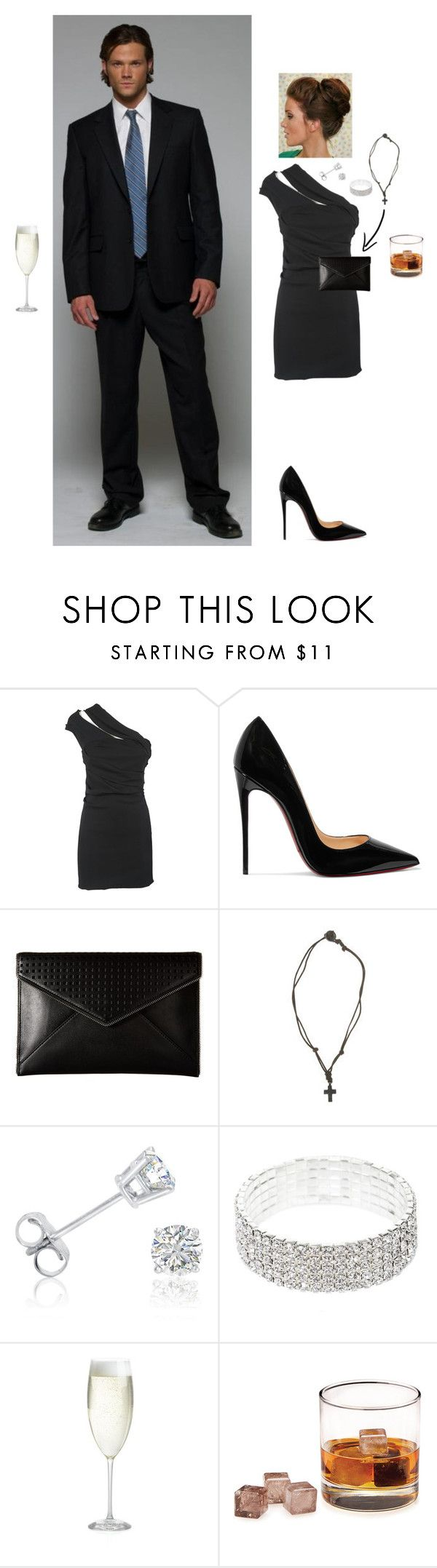 """""""Undercover: Sam's Wife at a Party"""" by steviepizza ❤ liked on Polyvore featuring SAM., Dsquared2, Christian Louboutin, Rebecca Minkoff, American Eagle Outfitters, Amanda Rose Collection and Crate and Barrel"""