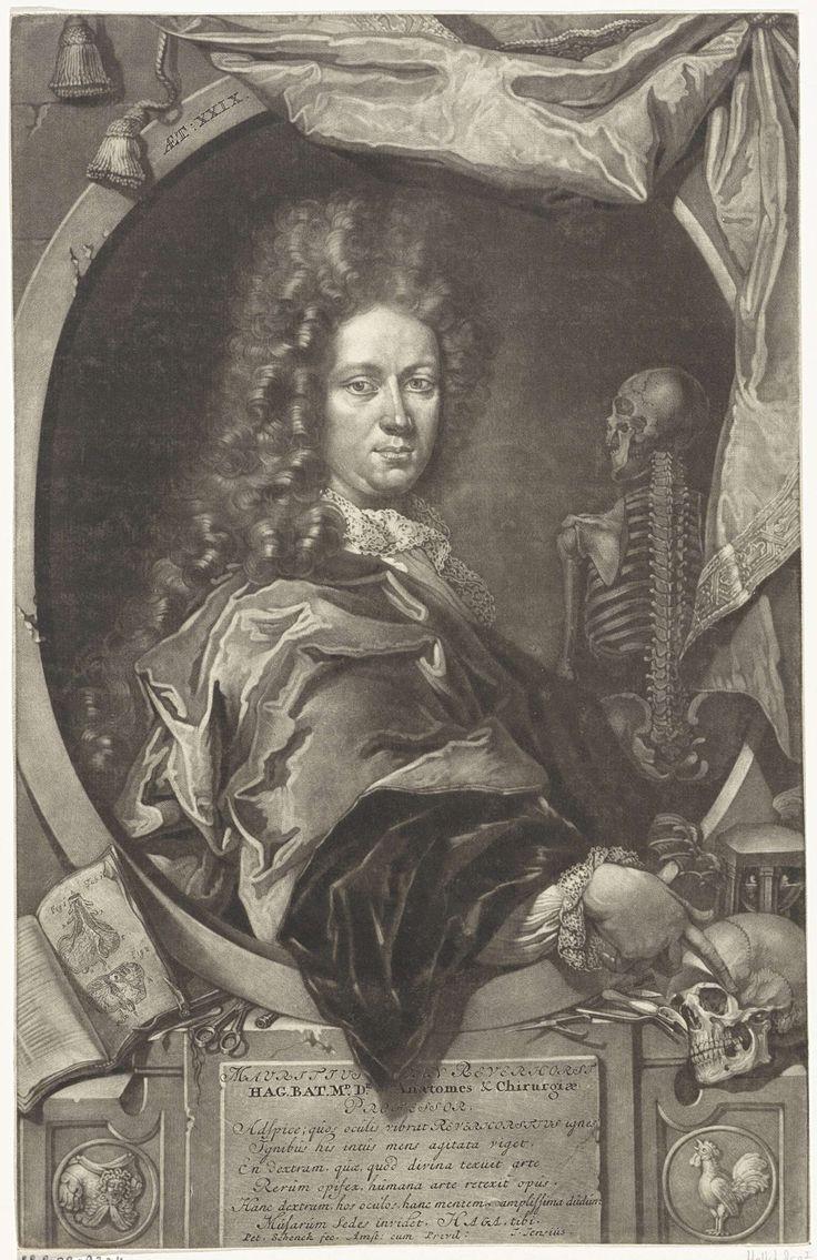 Pieter Schenk (I) | Portret van Maurits van Reverhorst, Pieter Schenk (I), J. Jensius, 1670 - 1713 | De professor in de anatomie Maurits van Reverhorst op 29-jarige leeftijd. Buiten de omlijsting een schedel, een boek met anatomische tekeningen, een zandloper en medische instrumenten. Naast de geportretteerde een skelet.