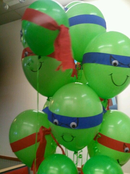 Teenage Mutant Ninja Turtles Party Balloons   [1] Green balloons (any party store) [2] Blue, Red, Orange and/or Purple streamers (any store selling party decorations) [3] Permanent Marker [4] Googly Eyes (Most Craft Stores)