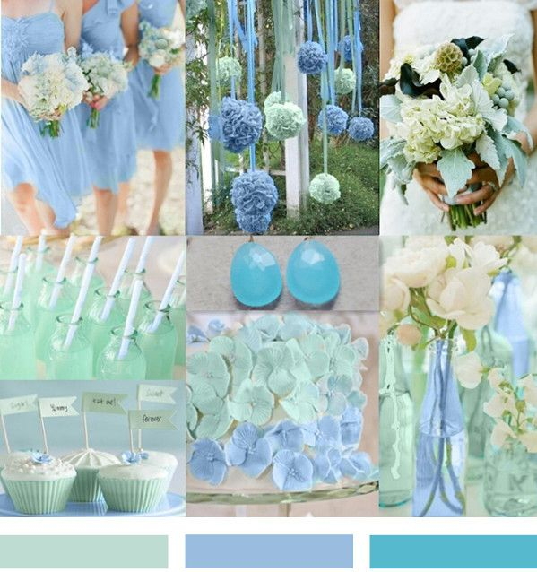 Mint and Blue Wedding Ideas and Wedding Invitations