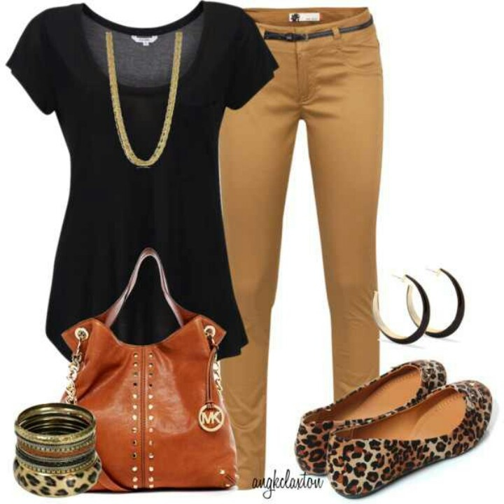 Black top and tan pants