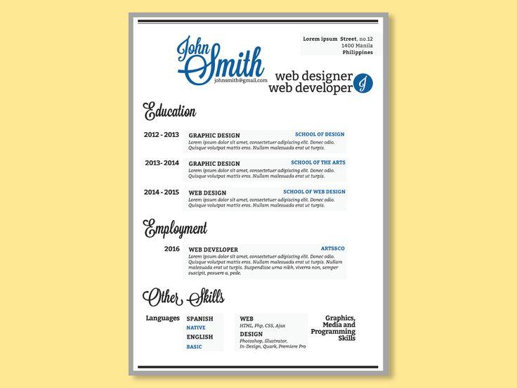 103 best Resumes \ CV images on Pinterest Philippines, Corporate - web designer resume