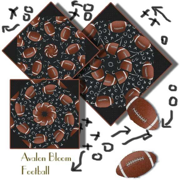 Football Kaleidoscope Quilt Block Kit It's Football time! Footballs and Chalkboard Plays. Timeless Treasures Pattern Footballs Sport-C1228-Black. This is a pre cut kit to sew a set of 12 kaleidoscope quilt blocks. Finished dimension for all blocks sewn together is 24 X 32 inches Each block measures 8 1/2 inches square when sewn. Our Fast and Easy Blooming Blocks© are cut from 100 percent cotton fabric. Each block in the set will be unique.