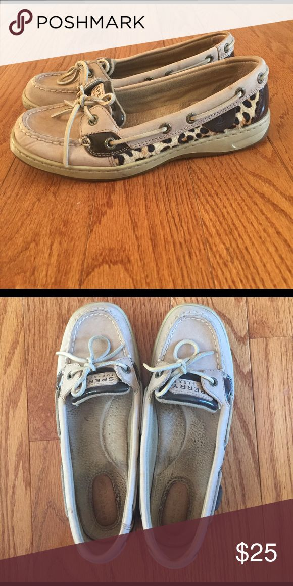 Leopard sperry shoes Leopard sperry shoes. Worn but always get complimented on them. Sperry Shoes Flats & Loafers