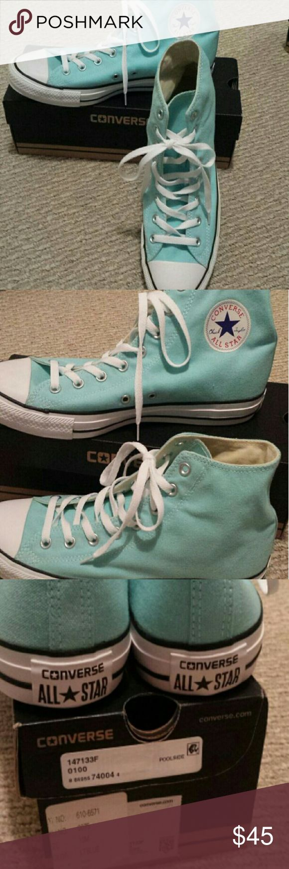 Nwt Converse size 12 Brand new with the tag and box Size 10 for men's size 12 for women High top sneakers Color is light blue or turquoise Converse Shoes Sneakers