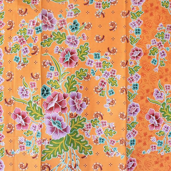 colorful flowers and orange vintage traditional by 18dec on Etsy, $17.00