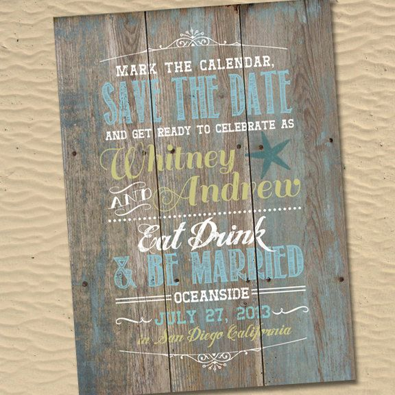 A beachside wedding invite or Save The Date card that feels truly rustic + weathered (genius!) // Found @Emma Landry on Etsy