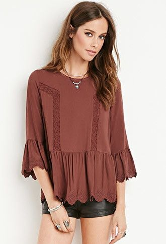 Crochet-Trimmed Peasant Top   Forever 21 - 2000140708