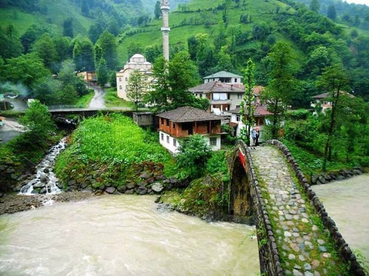 The small community of amlhemin in the Rize region of the Black sea coast in Northeast Turkey