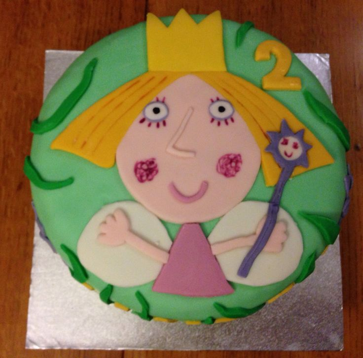 Holly cake, from Ben and Holly's Little Kingdom, for my daughters' second birthday.