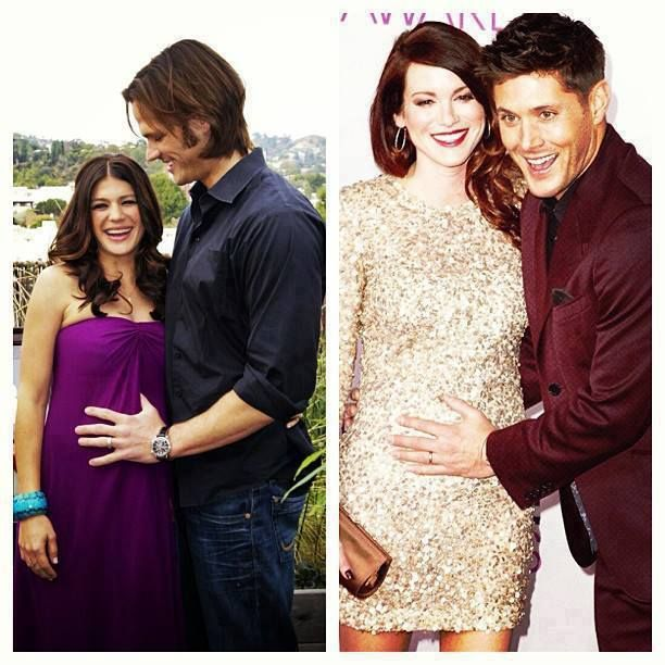 Jared Padalecki (Sam Winchester) and his preggers wife, Genevieve (actress who played Ruby on Supernatural) + Jensen Ackles and his preggers wife, the stunning Danneel Harris-Ackles (film / tv actress). #JaredPadalecki #JensenAckles