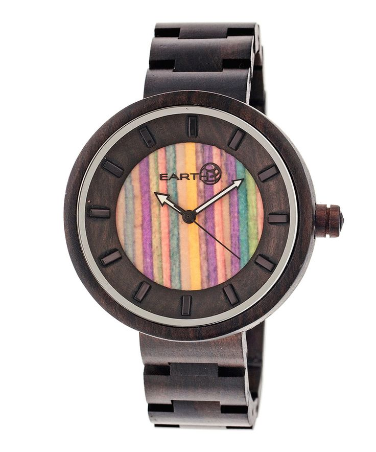 Look at this #zulilyfind! Dark Brown & Multicolor Root Wood Bracelet Watch by EARTH wood watches #zulilyfinds