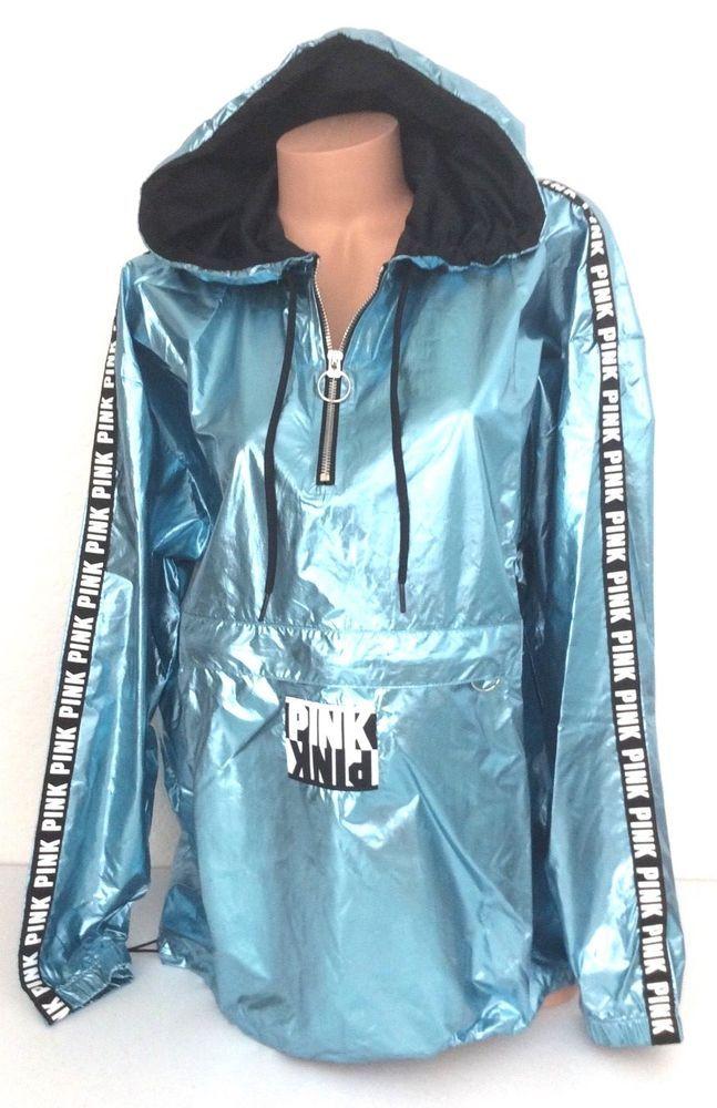 6a1cf0bf Victoria's Secret PINK Iridescent Foil Half Zip Anorak Hoodie Sport Jacket  M/L #VictoriasSecret #Windbreaker