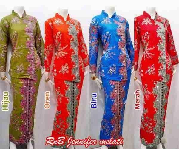 Baju Seragam Batik Kerja Setelan Rok Blus Lengan Panjang