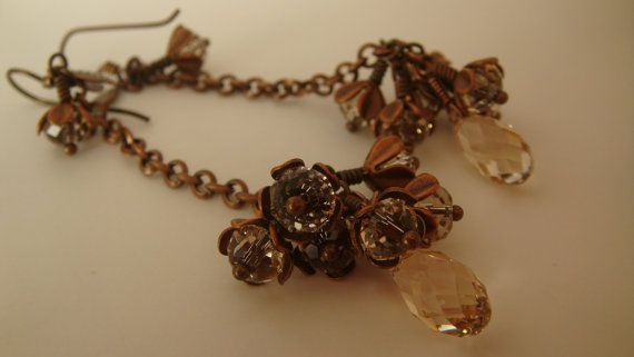 Antique Copper Silk Swarovski Crystal Earrings by JulianaJewelry