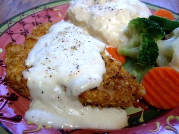 chicken fried chicken with cream gravy. Awesome I used no sodium broth
