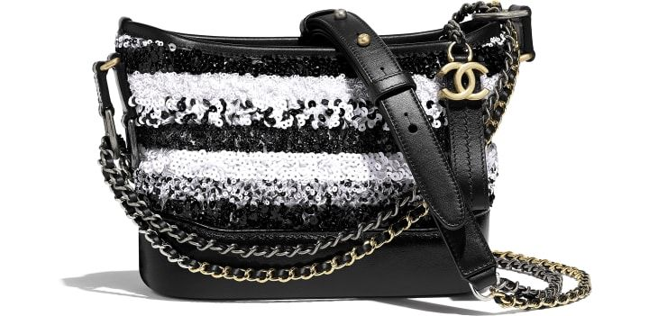e18bc7586ff24b CHANEL'S GABRIELLE Small Hobo Bag, sequins, calfksin, silver-tone &  gold-tone metal., white & black. - CHANEL