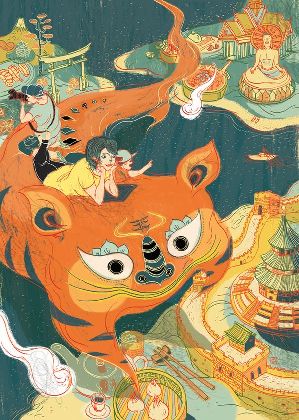 Victo Ngai - flowing lines, dynamic composition - coordinated colors that bleed over lines to add to sense of flow