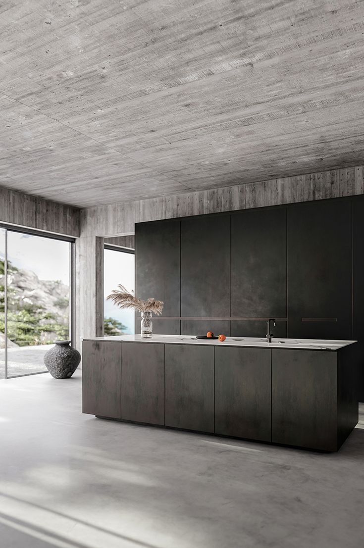Contemporary Home With Bare Concrete Walls And A Black Kitchen