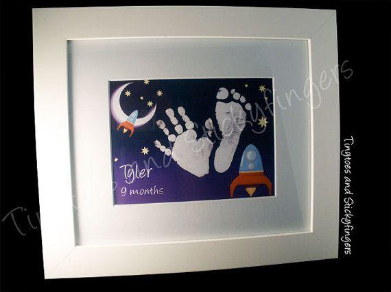 Rocket Nursery Print Keepsake  Hand prints foot by Tinytoesprints
