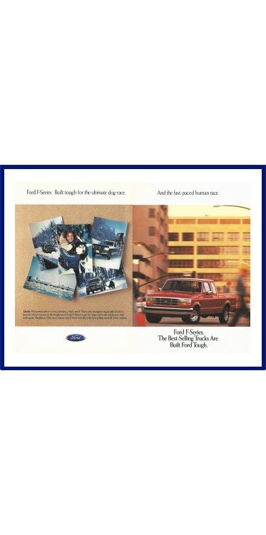 """FORD F-SERIES TRUCK Original 1995 Vintage Print Ad - """"Ford F-Series. Built Tough For The Ultimate Dog Race. And The Fast-Paced Human Race."""" by VintageAdOrama on Etsy"""